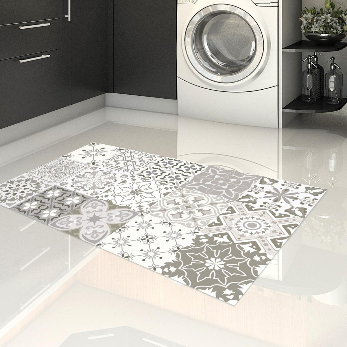 tapis vinyle carrelages nuances de gris rom o 60 x 100 cm stickers art et design artistiques. Black Bedroom Furniture Sets. Home Design Ideas