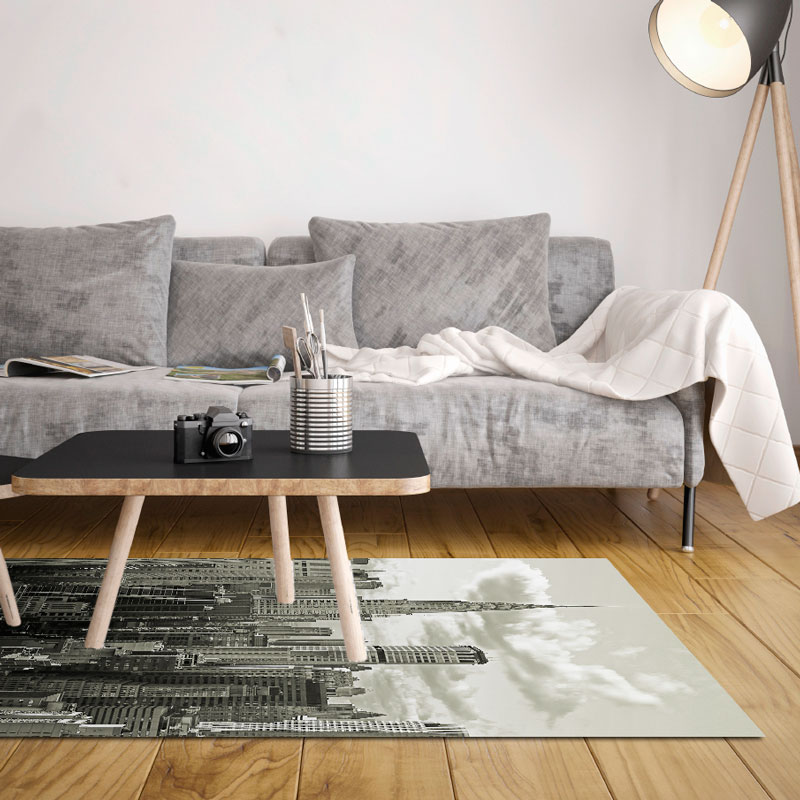 tapis vinyle new york noir et blanc 120 x 170 cm. Black Bedroom Furniture Sets. Home Design Ideas