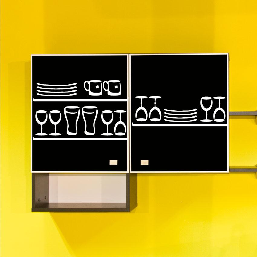 Stickers verres et assiette pour la cuisine for Porte assiettes pour cuisine