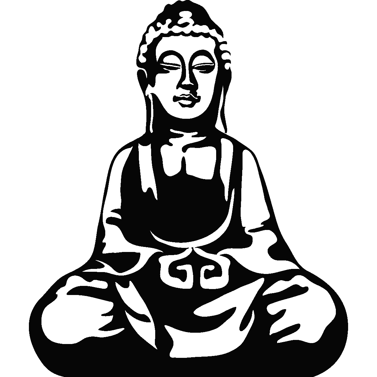 Muurstickers silhouettes muursticker zittende boeddha ambiance - Badkamer zen natuur ...