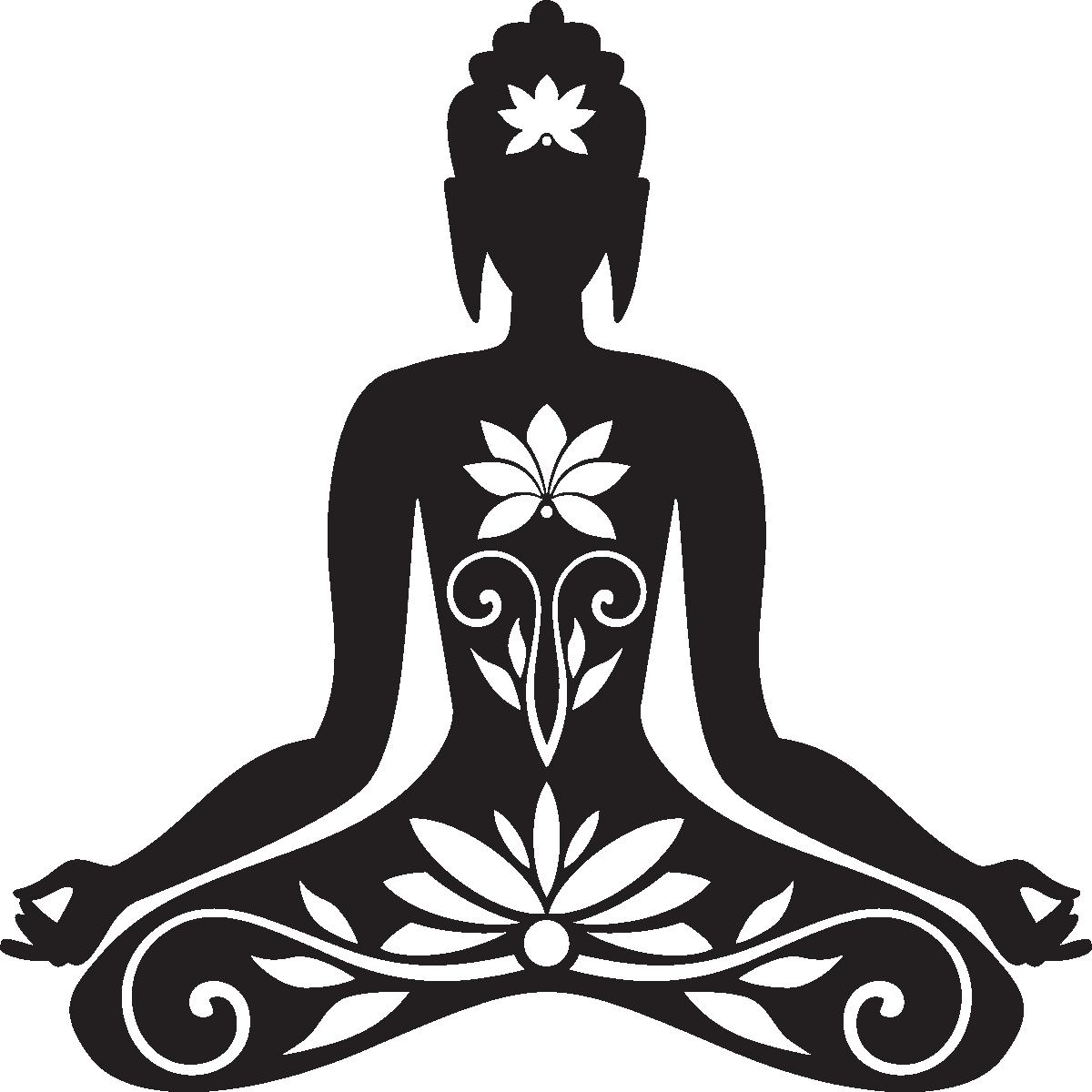 Sticker muraux zen sticker mural bouddha assis for Accessoire salle de bain transparent