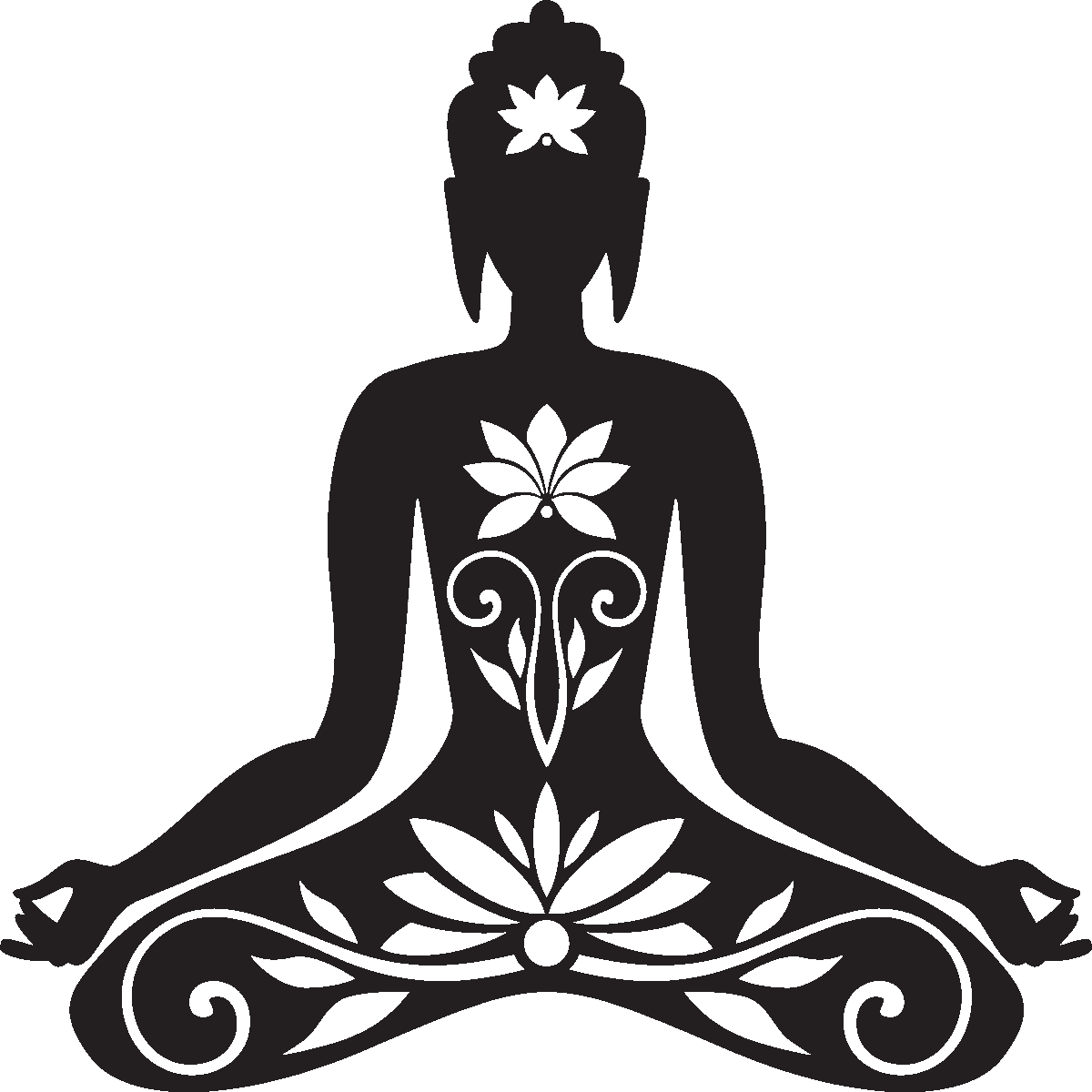 sticker muraux zen sticker mural bouddha assis ambiance. Black Bedroom Furniture Sets. Home Design Ideas