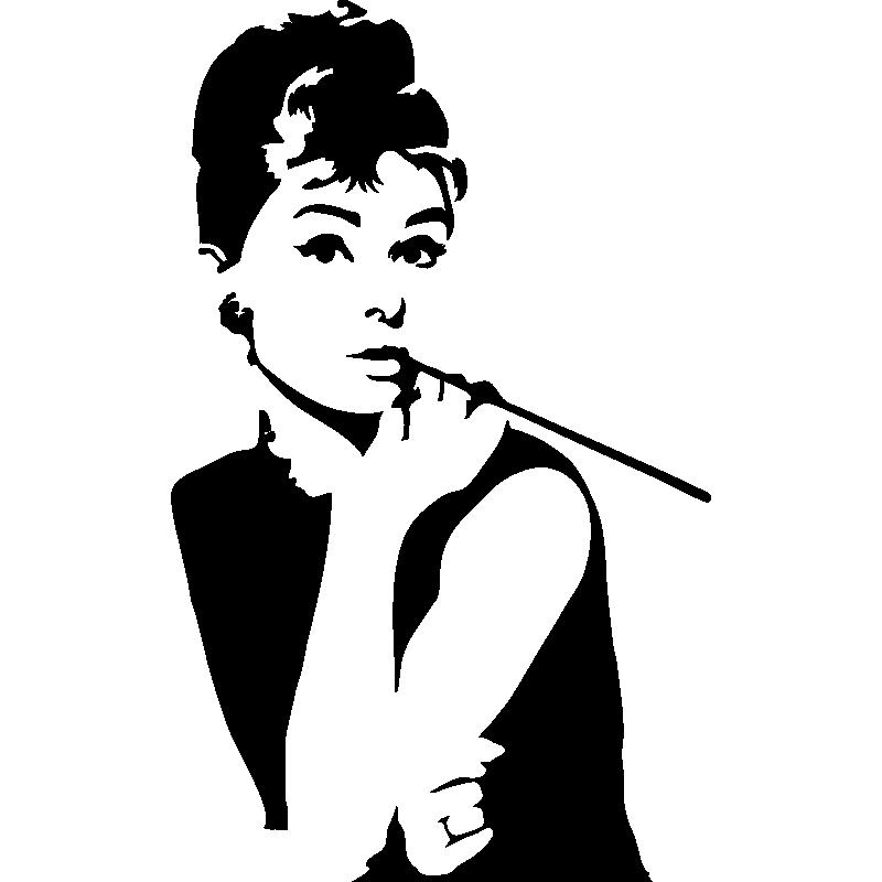 Autocollants Muraux Audrey Hepburn Vinyle Poster Séjour Décalcomanie 3D filles art