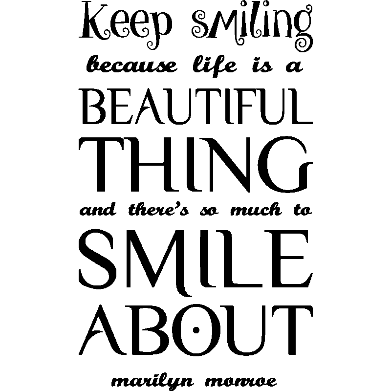 Sticker Citation Keep Smiling Mailyn Monroe