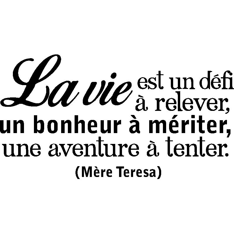 Sticker Citation La Vie Est Un Défi De Mère Teresa