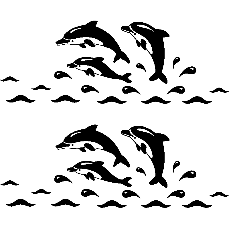 Sticker frise dauphins