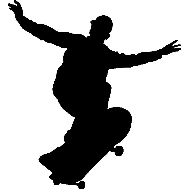 Patineta patinador Silueta Sticker Etiqueta de vinilo gráfico Etiqueta Negra V2