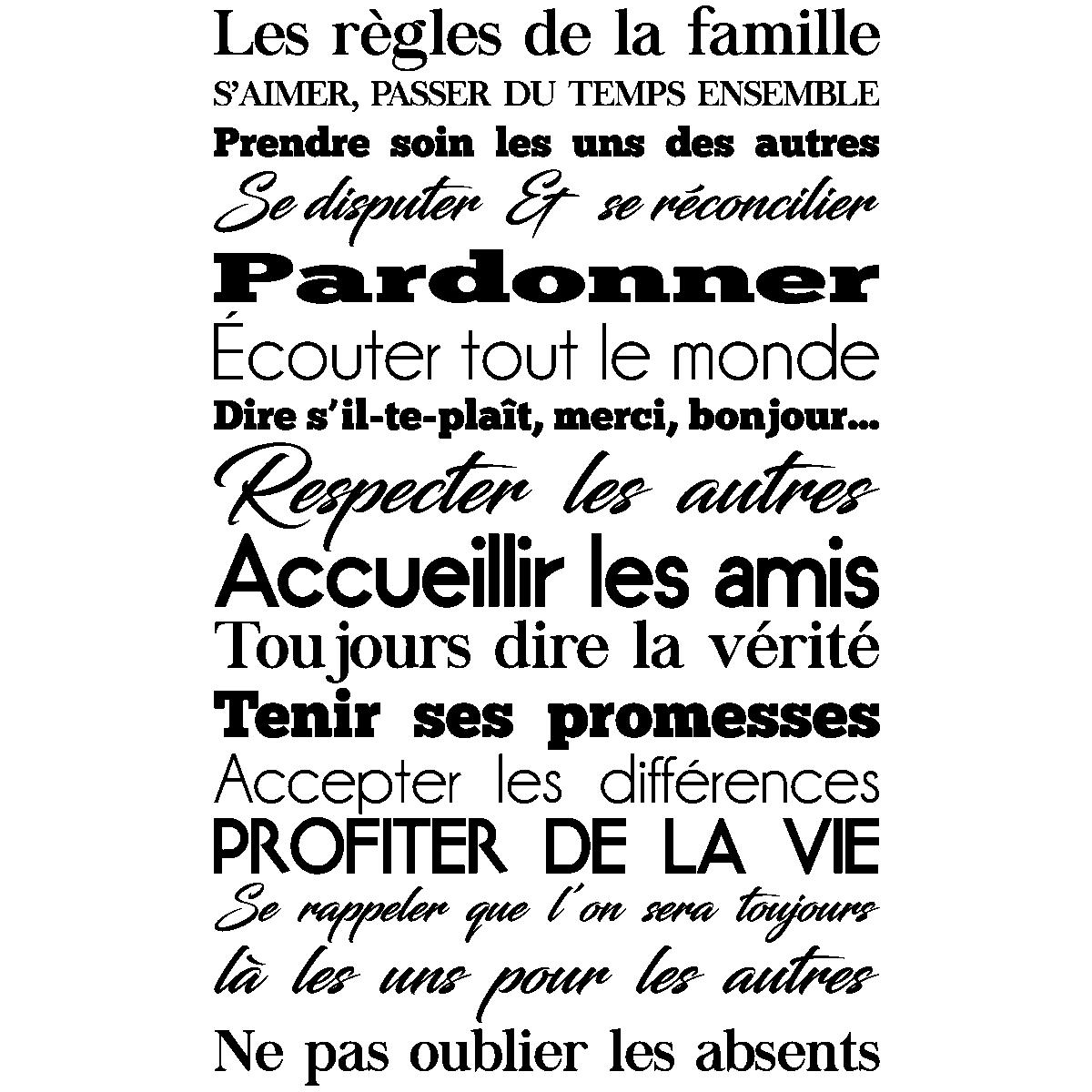 Tete De Lit Orientale Maison Du Monde sticker les règles de la famille design