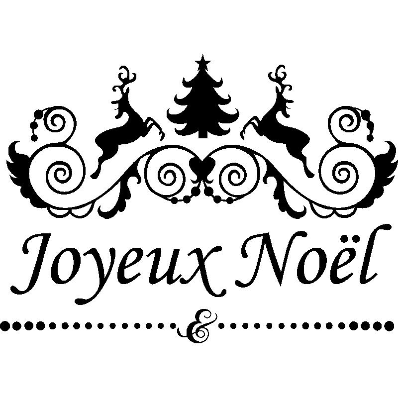 Sticker Noël Sapin Rennes Joyeux Noël