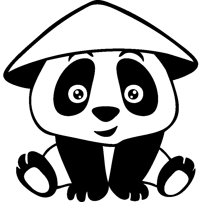 Sticker Panda Avec Chapeau
