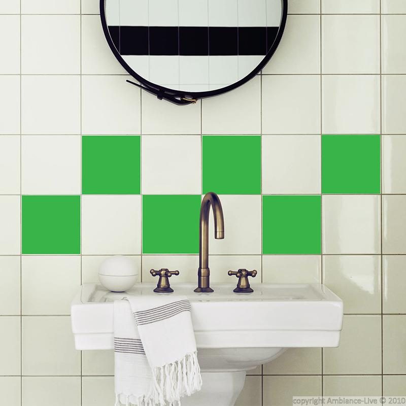Wall decal for tiles green squares wall decal bathroom for Bathroom tile stickers