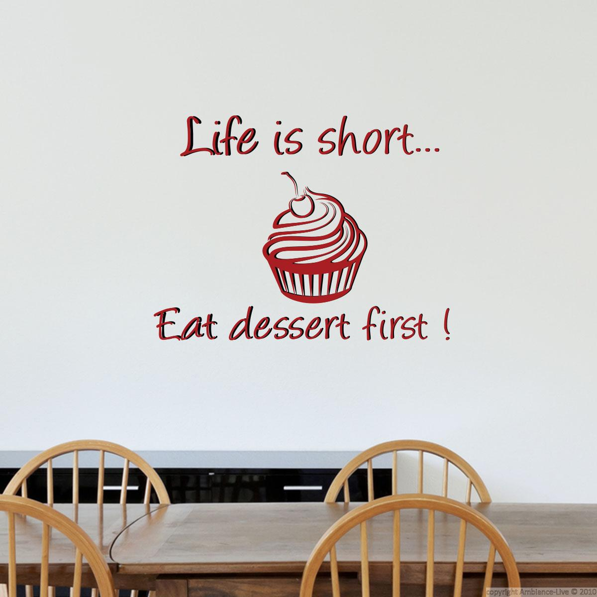 Sticker life is short stickers citations anglais for Decoration a coller sur porte