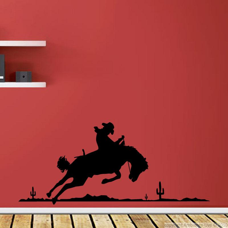 Wall decal cowboy silhouette wall decal music cinema for Cowboy wall mural
