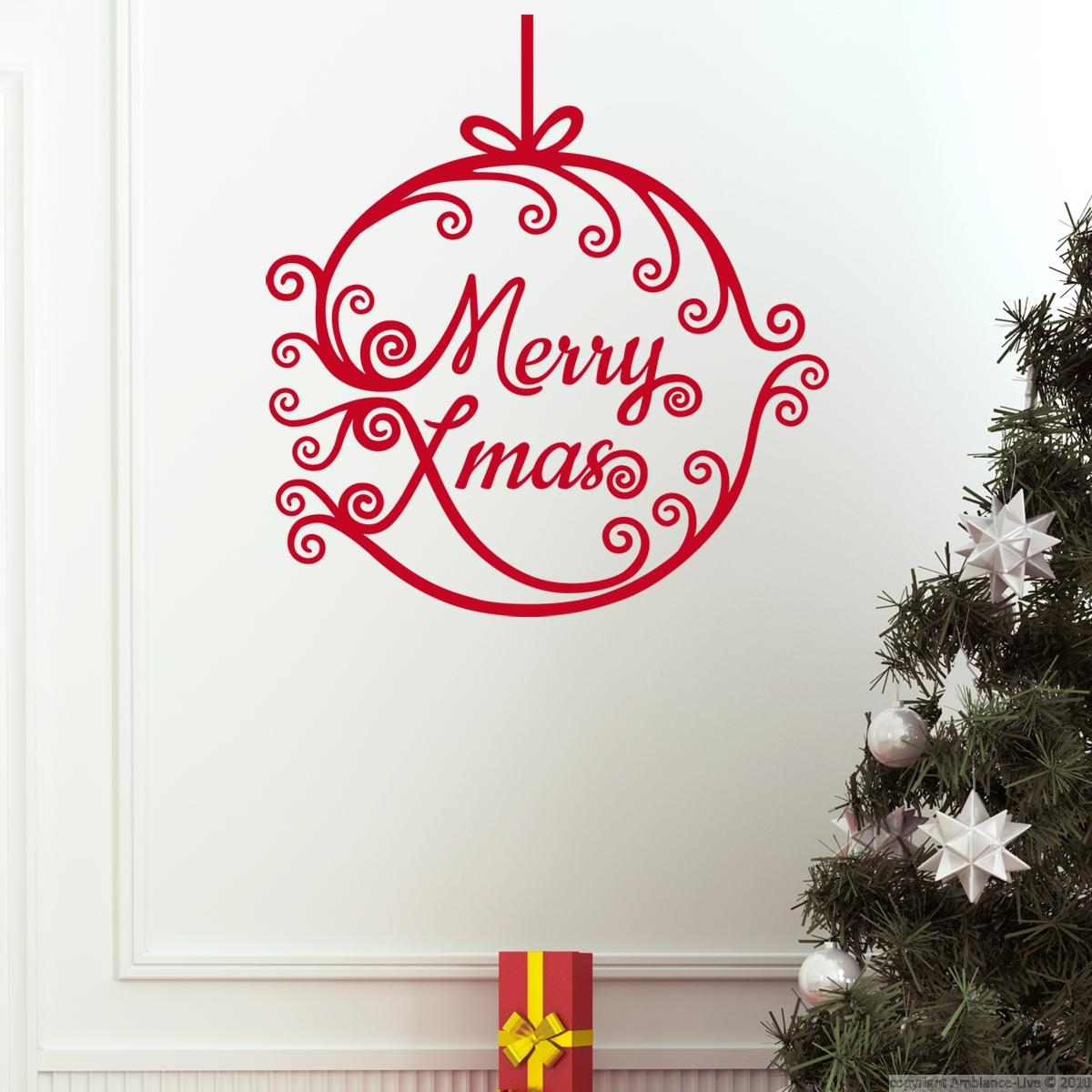 Wall decals for christmas wall decal merry xmas ball for Christmas wall mural