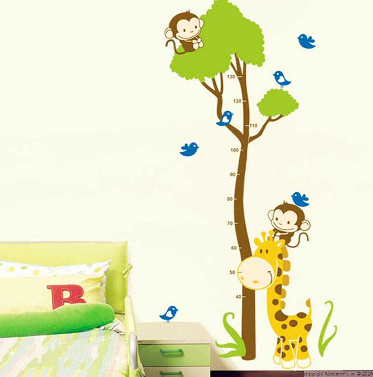 Stickers muraux animaux sticker toise arbre et singe for Stickers pared ninos
