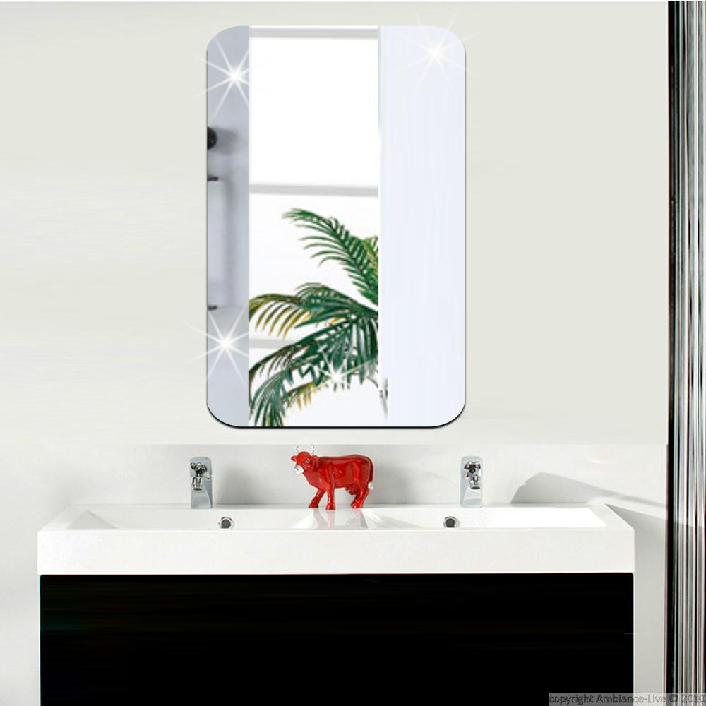 Sticker miroir rectangle bords arrondis 42x27 cm for Sticker miroir salle de bain