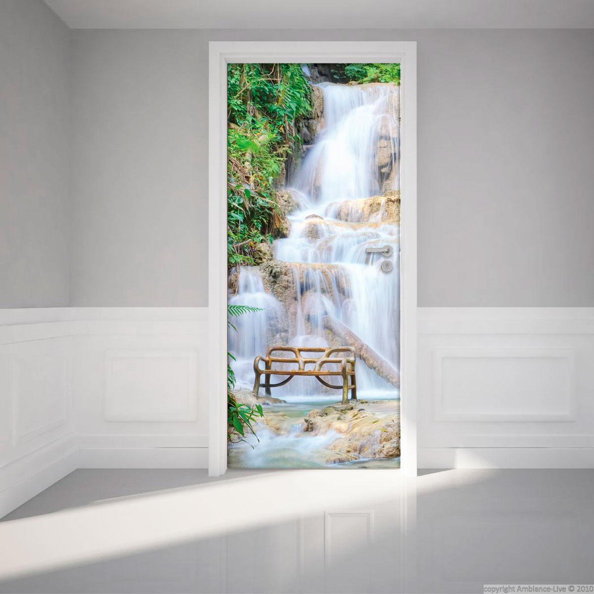 Sticker porte 204 x 83 cm cascade stickers villes et for Poster de porte zen