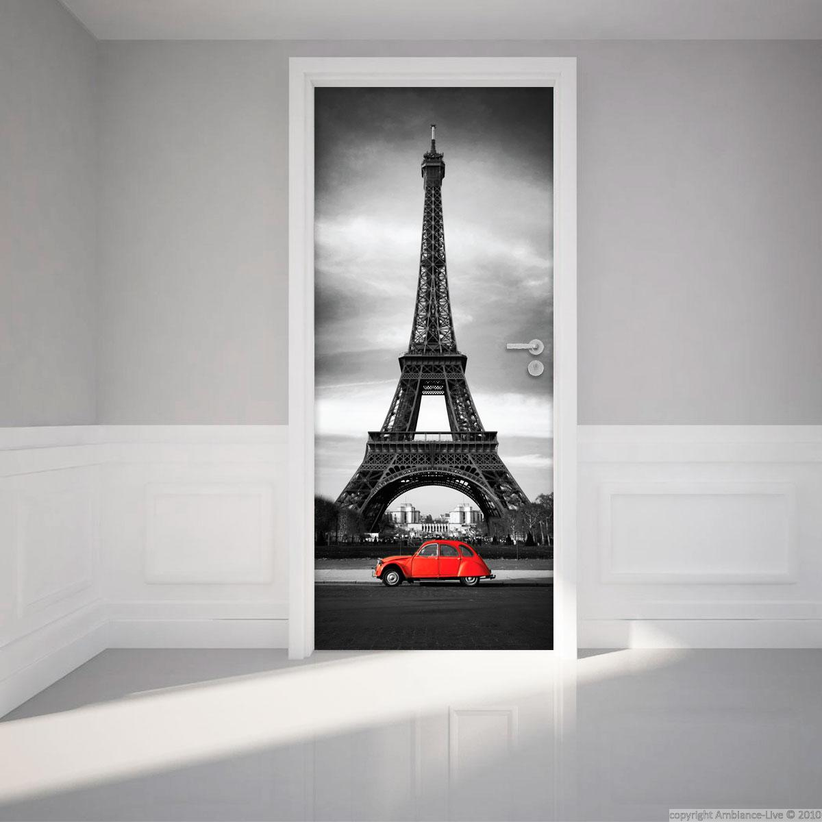 Sticker porte 204 x 83 cm tour eiffel stickers villes for Stickers de porte ancienne