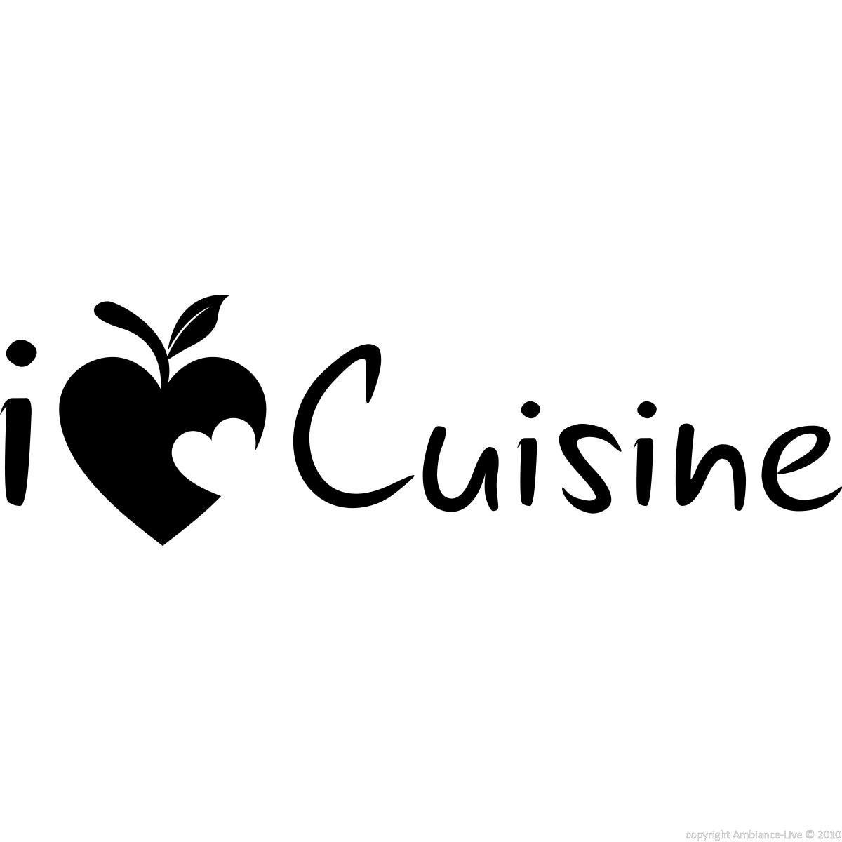 wall decal i love cuisine wall decal quotes french ambiance sticker. Black Bedroom Furniture Sets. Home Design Ideas