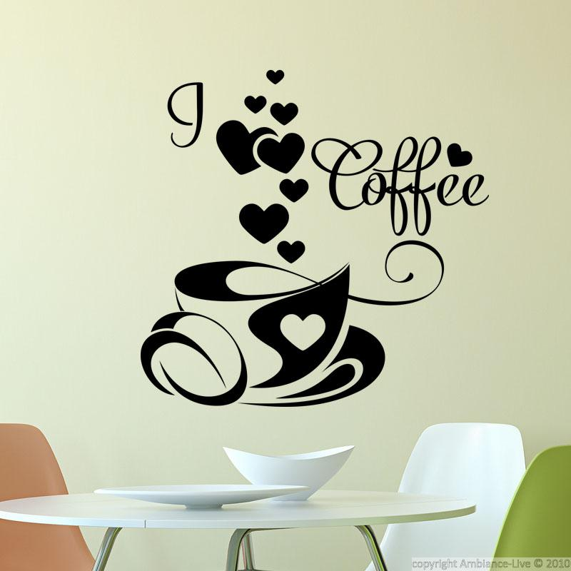 Sticker i love coffee stickers cuisine caf et th - Stickers pour cuisine decoration ...
