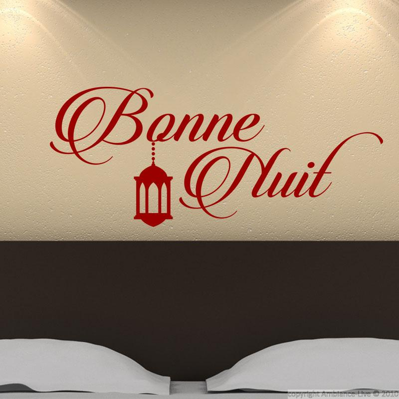 wall decal bonne nuit gracefully stickers quotes. Black Bedroom Furniture Sets. Home Design Ideas