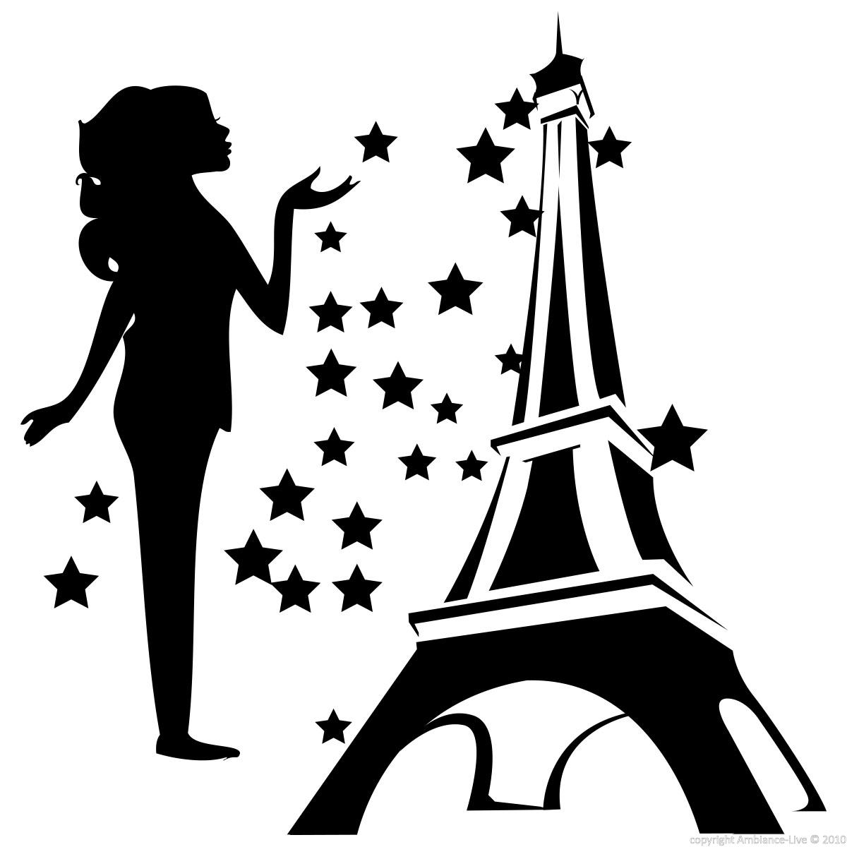 sticker femme et tour eiffel stickers villes et voyages paris ambiance sticker. Black Bedroom Furniture Sets. Home Design Ideas