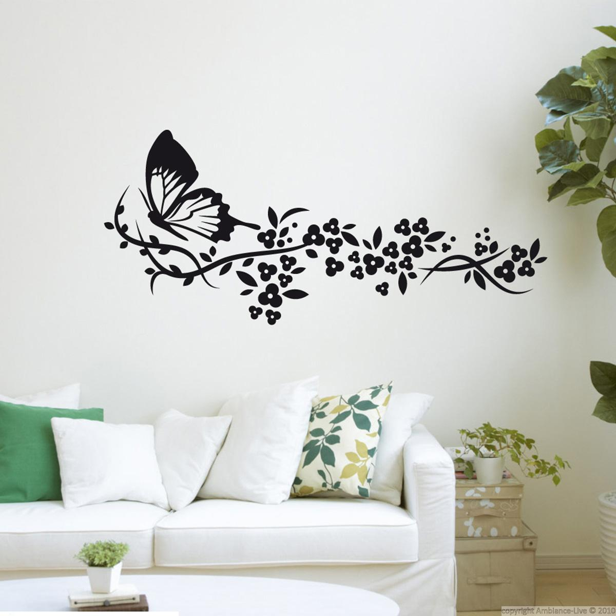 stickers muraux animaux sticker train e de fleurs et papillon ambiance. Black Bedroom Furniture Sets. Home Design Ideas
