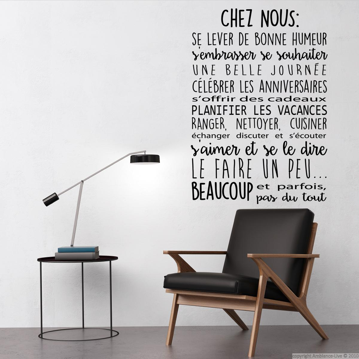 sticker citation chez nous stickers citations fran ais ambiance sticker. Black Bedroom Furniture Sets. Home Design Ideas