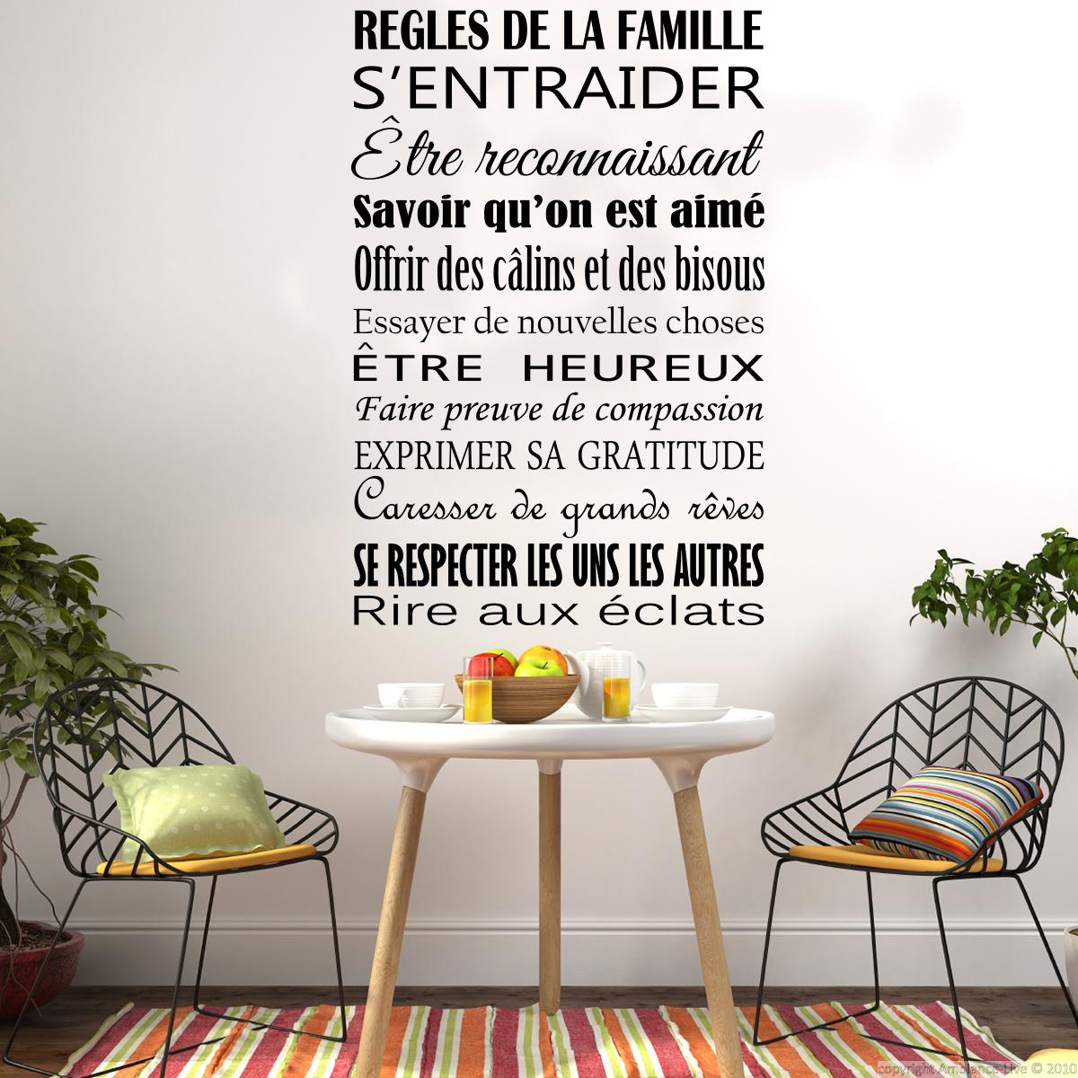 Sticker citation r gles de la famille design stickers for Design francais