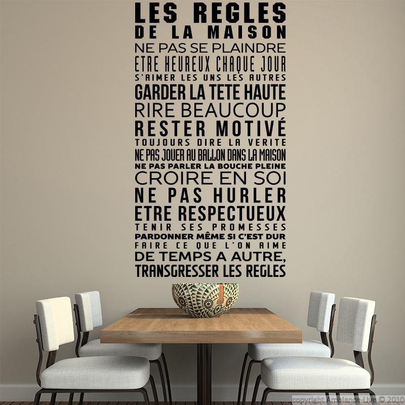 Stickers citations texte stickers muraux citations - Stickers muraux les regles de la maison ...