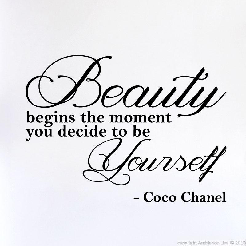 Citaten Coco Chanel : Muursticker beauty begins the moment… coco chanel