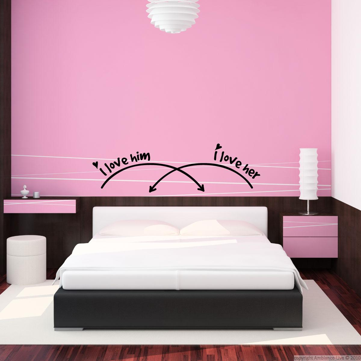 Wall decal i love him i love her decoration wall decals for Ambiance decoration