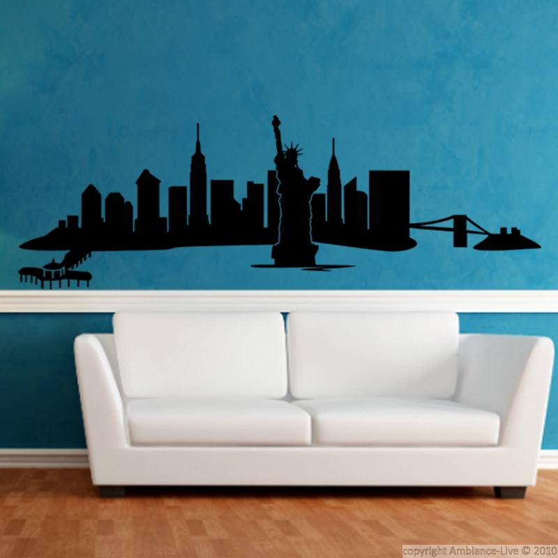 wandtattoos new york wandtattoo new york panorama blick ambiance. Black Bedroom Furniture Sets. Home Design Ideas