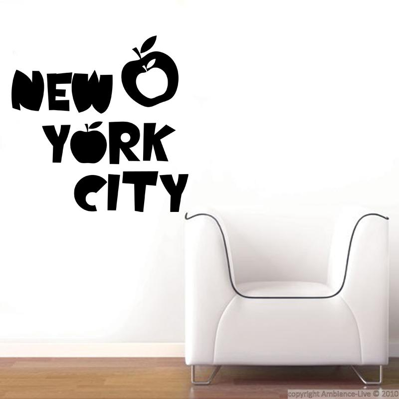 New york wall decals new york and apples ambiance for Sticker mural new york
