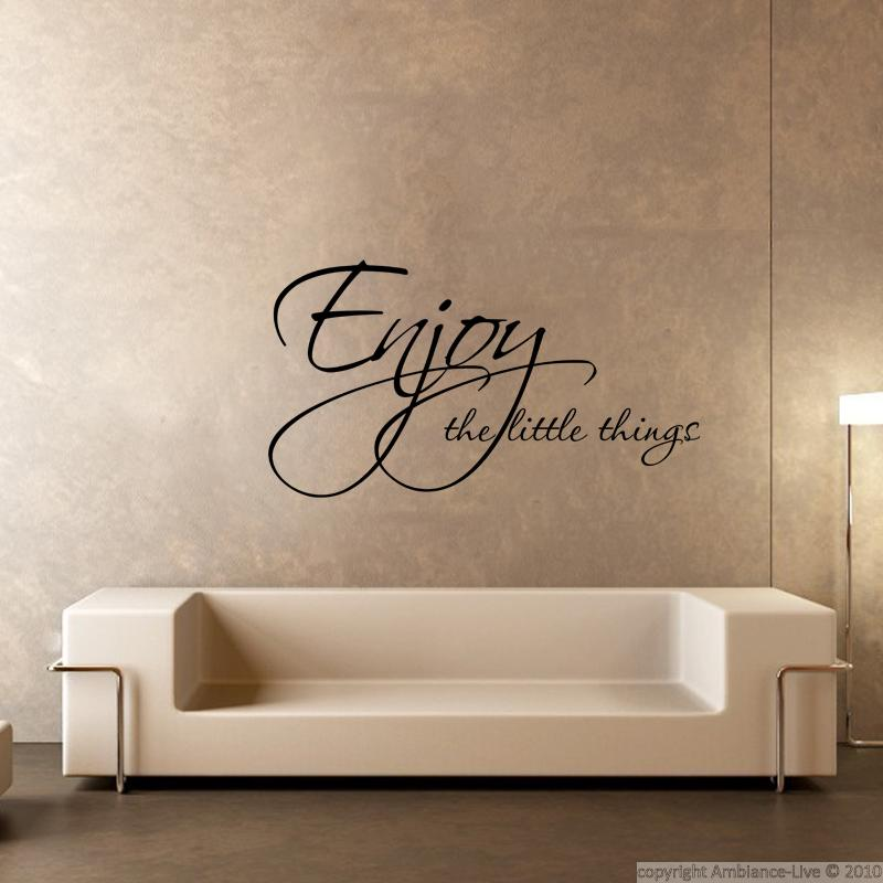 Sticker enjoy things stickers citations anglais ambiance sticker for Autocollant mural texte