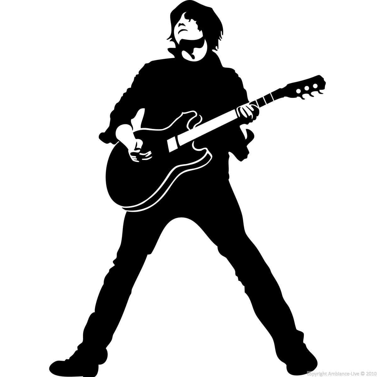 Wall decals music - Wall decal Silhouette guitarist ...