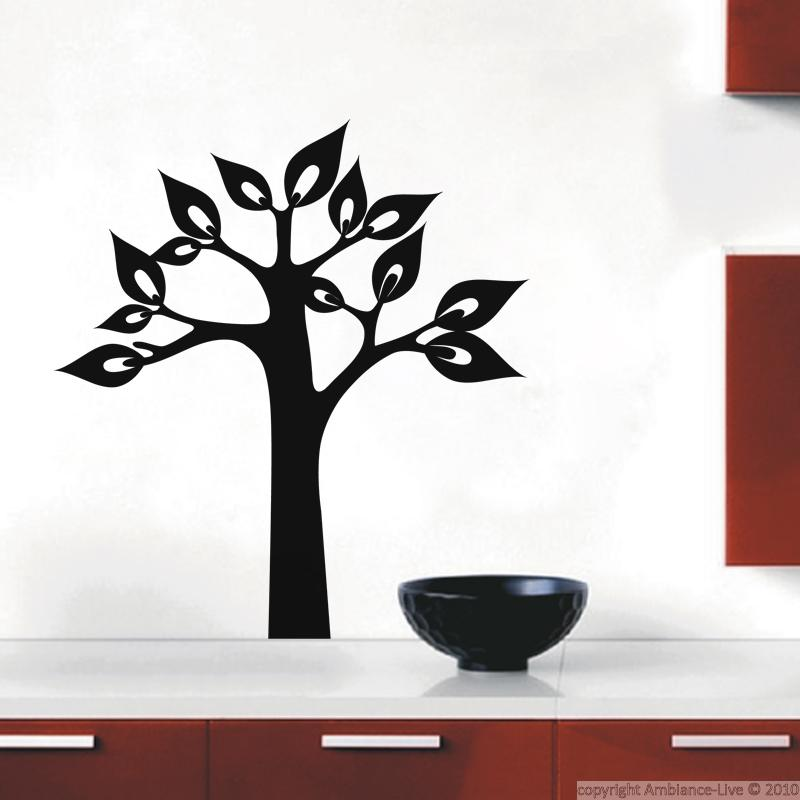stickers muraux fleurs sticker arbre avec grandes feuilles ambiance. Black Bedroom Furniture Sets. Home Design Ideas