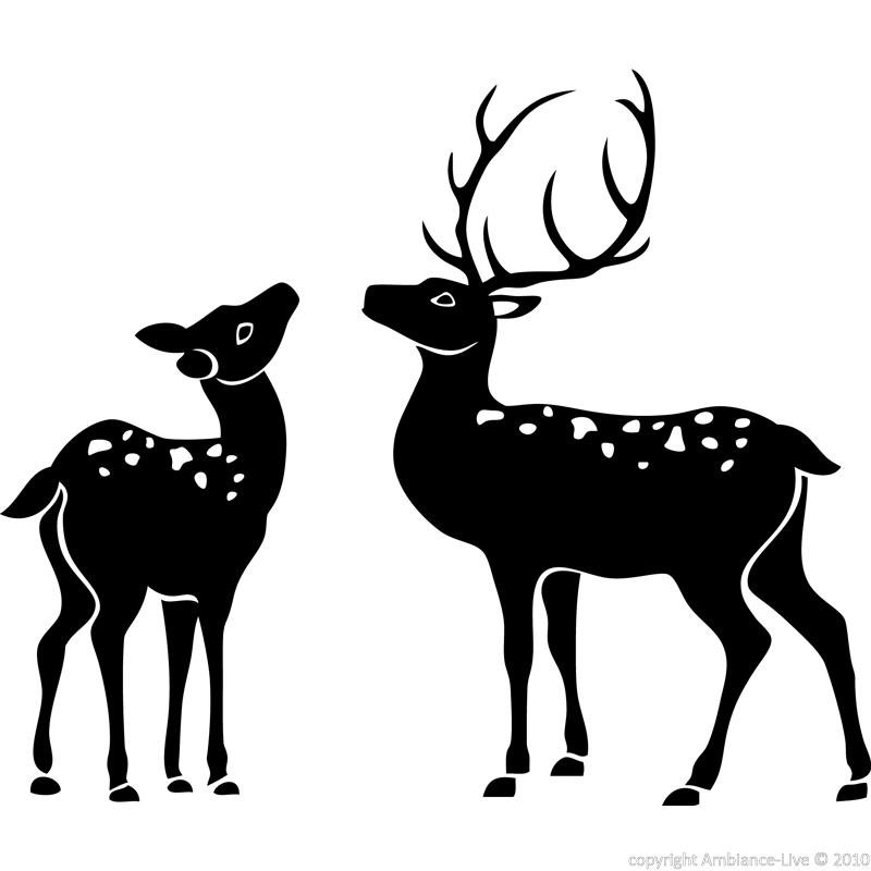 Animals wall decals silhouette deer wall decal for Deer mural decal