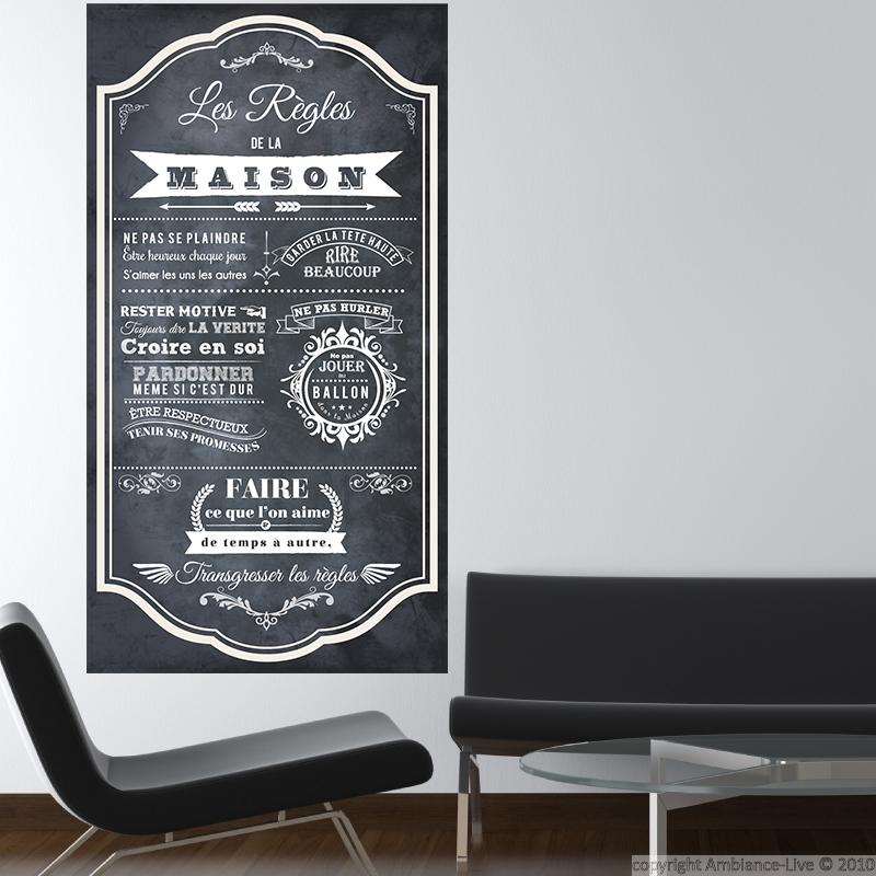 wall decal poster les r gles de la maison style ardoise wall decal quotes french ambiance. Black Bedroom Furniture Sets. Home Design Ideas