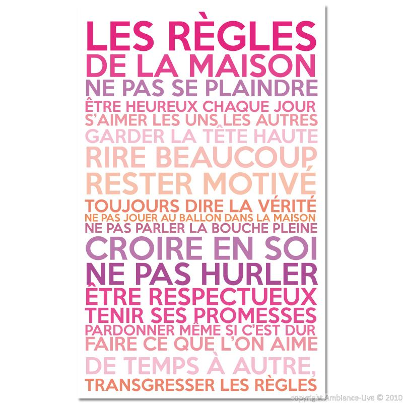 sticker poster les r gles de la maison couleurs girly stickers citations fran ais ambiance. Black Bedroom Furniture Sets. Home Design Ideas