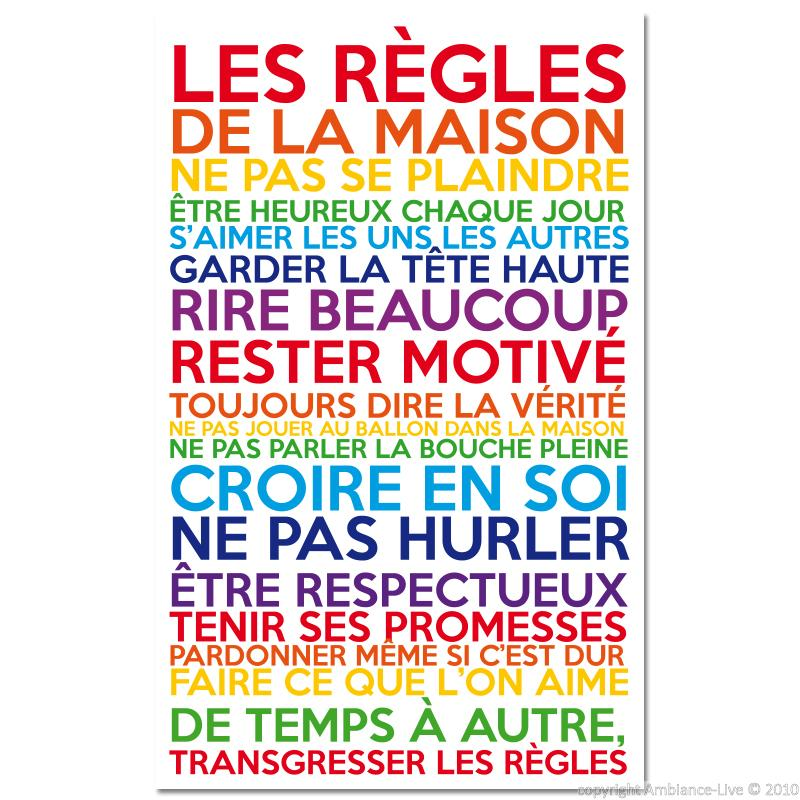 wall decal poster les r gles de la maison multicolore wall decal quotes french ambiance sticker. Black Bedroom Furniture Sets. Home Design Ideas