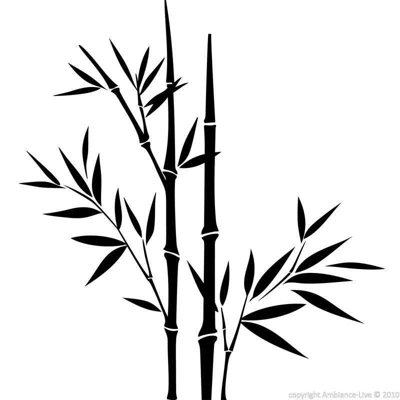 Wall decal Design bamboo stems and leaves - Wall Decal Nature Leaves ...