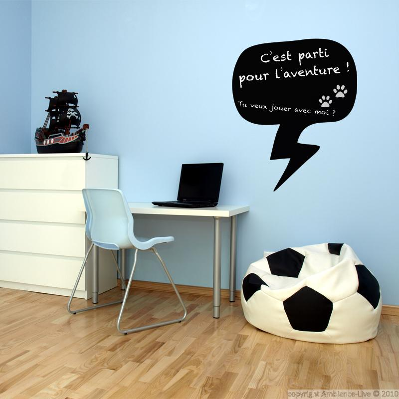 sticker ardoise bulle de conversation stickers cuisine ambiance sticker. Black Bedroom Furniture Sets. Home Design Ideas