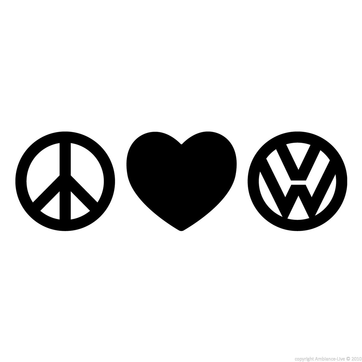 Car Stickers And Decals Sticker Peace Love Volkswagen