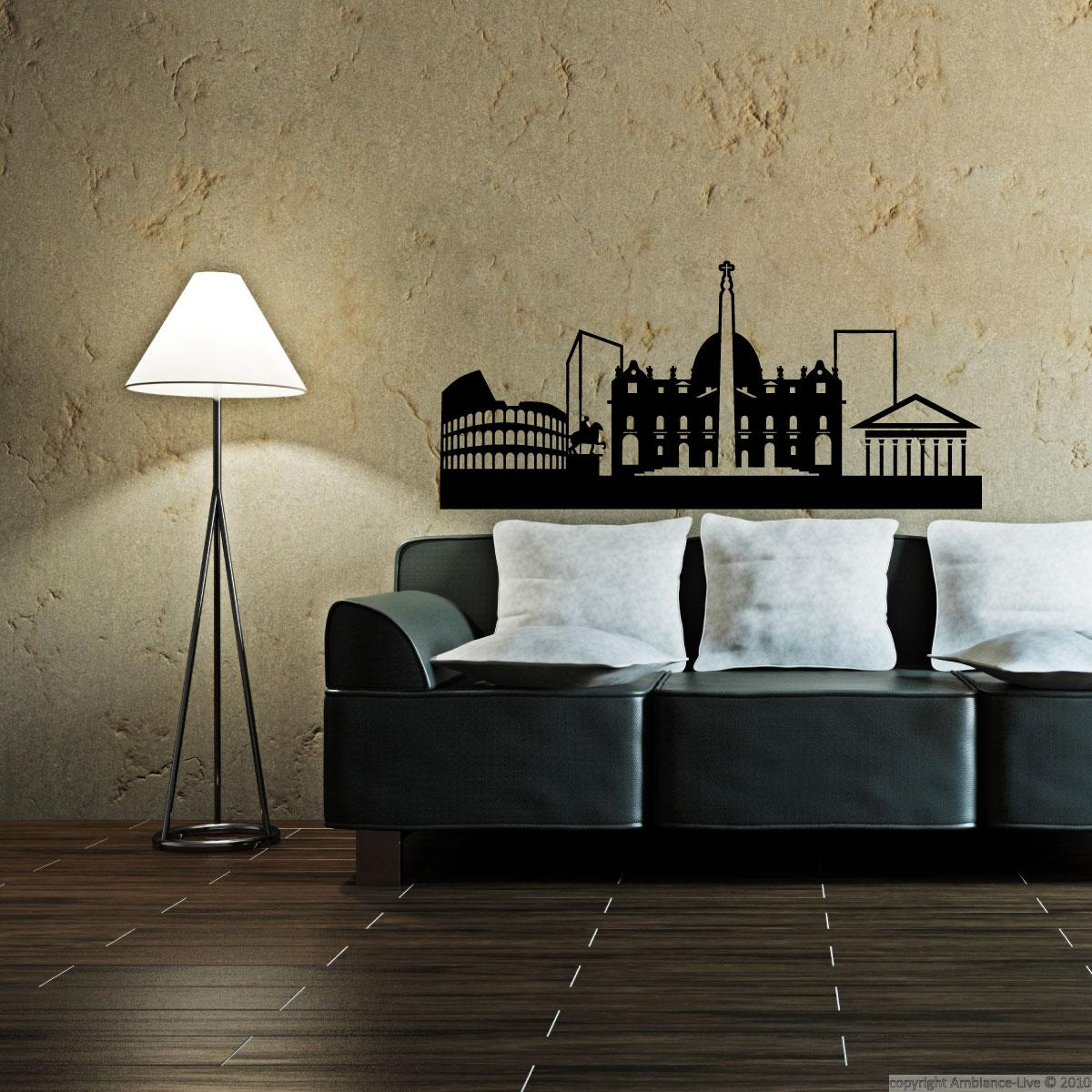 City wall decals wall decal rome skyline ambiance for Wall stickers roma