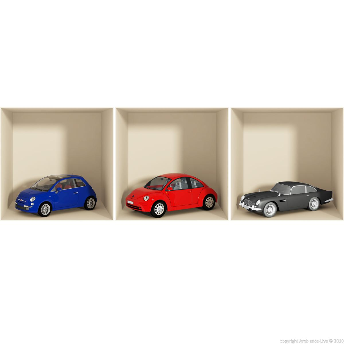Wall decals 3d wall decal 3d cars ambiance for Cars wall mural sticker
