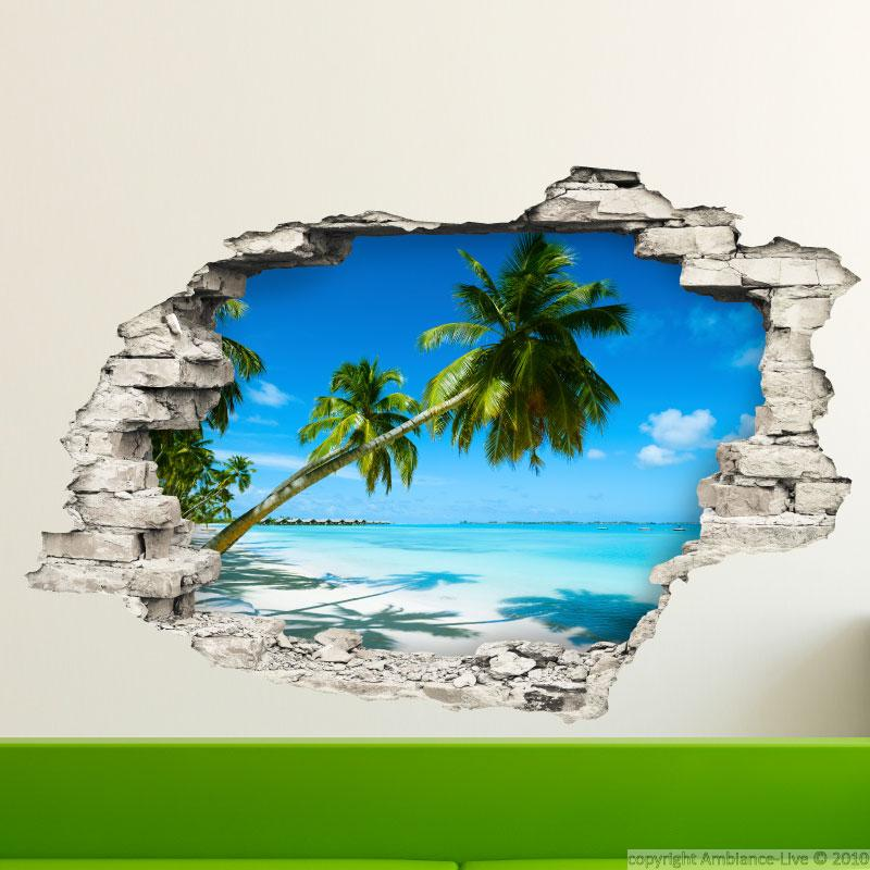 Sticker Trompe L 39 Il Au Bord D 39 Une Plage Stickers Nature Arbres Ambiance Sticker