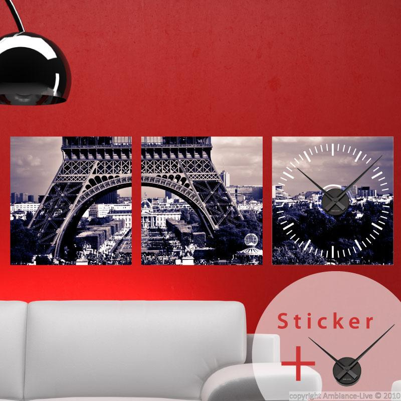 Sticker horloge tour eiffel ville de paris stickers for Stickers tour eiffel chambre