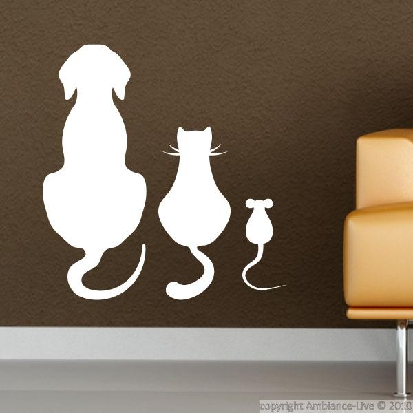 Animals Wall Decals Dog Cat And Mouse Sitting Wall