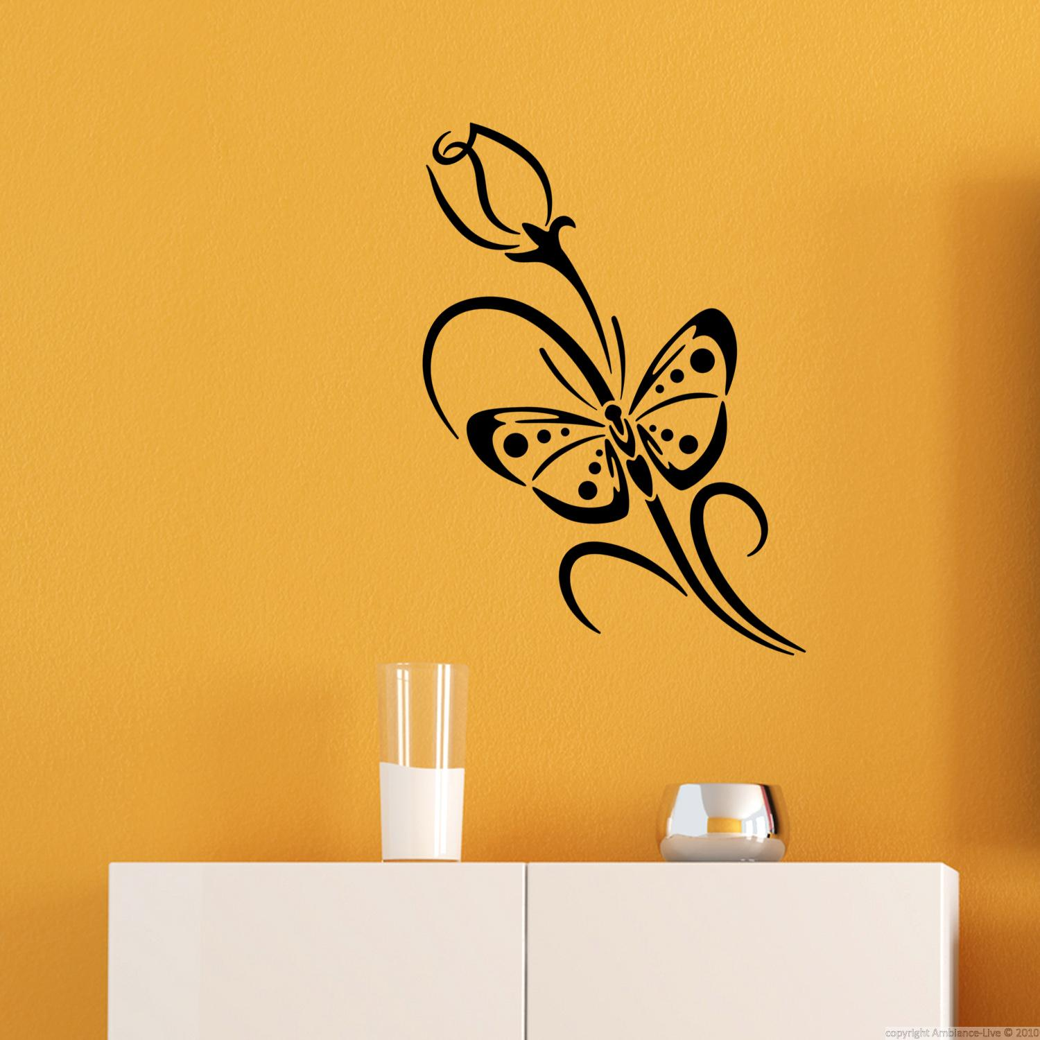 stickers muraux fleurs sticker papillon et bourgeon ambiance. Black Bedroom Furniture Sets. Home Design Ideas